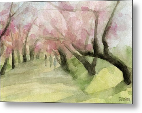 Landscape Metal Print featuring the painting Watercolor Painting of Cherry Blossom Trees in Central Park NYC by Beverly Brown