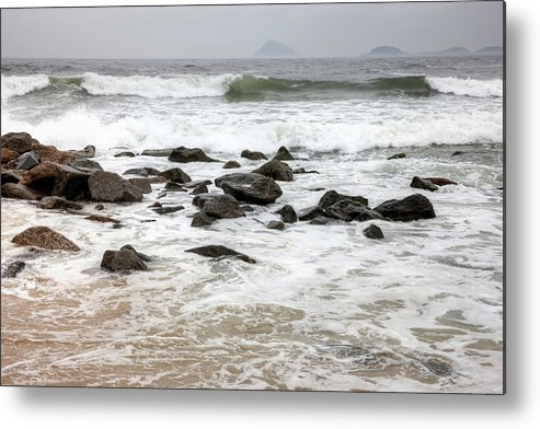 Water's Edge Metal Print featuring the photograph Waves Crashing On Copacabana Beach In by Tirc83