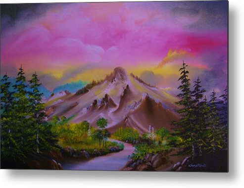 Mountains Metal Print featuring the painting What A View by Lorenzo Roberts