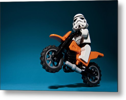 Lego Metal Print featuring the photograph Wheelie by Samuel Whitton