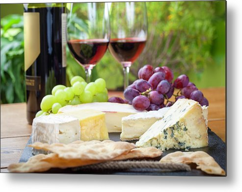 Cheese Metal Print featuring the photograph Wine And Cheese Platter by Nicolamargaret