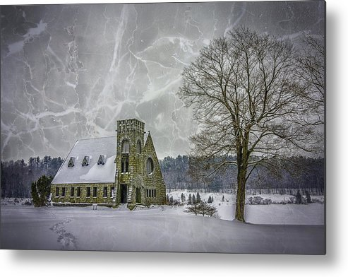 Winter Metal Print featuring the photograph Winter on the Old Stone Church by Bob Bernier