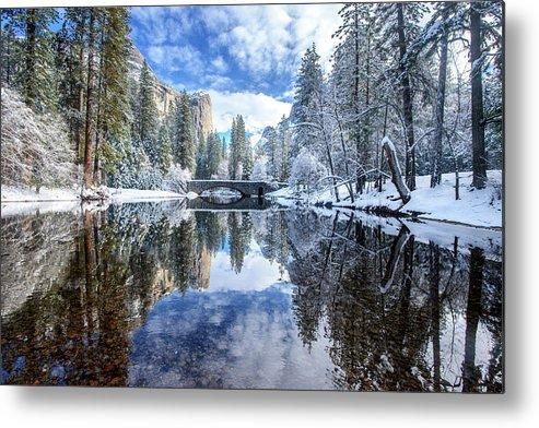 Scenics Metal Print featuring the photograph Winter Reflection At Yosemite by Piriya Photography