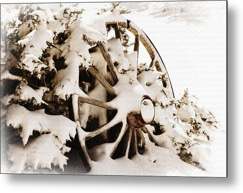 Lincoln Rogers Metal Print featuring the photograph Winter Wagon Wheel by Lincoln Rogers