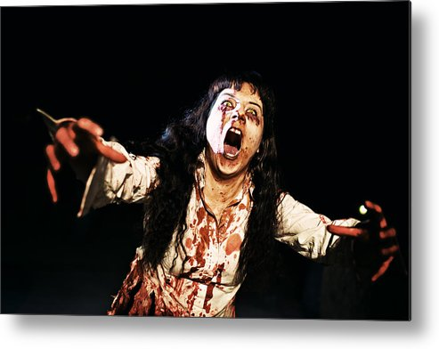 Problems Metal Print featuring the photograph Woman zombie walks at night by Laura Natividad