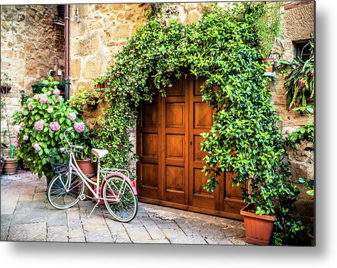 Val D'orcia Metal Print featuring the photograph Wooden Gate With Plants In An Ancient by Giorgiomagini