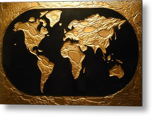 Map Metal Print featuring the painting World in Gold - World Map by Rick Silas