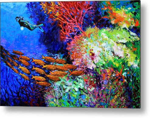 Scuba Diver Metal Print featuring the painting A Flash of Life and Color by John Lautermilch