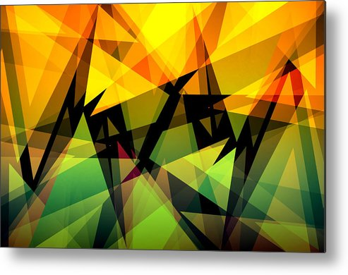 Abstract Metal Print featuring the digital art Abstract Triangle Colorful Background by Nattapon Wongwean