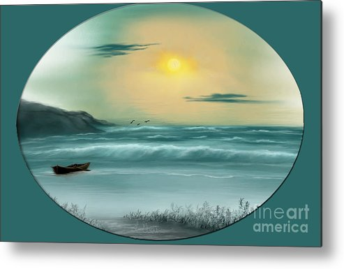 Seascape Metal Print featuring the photograph By The Sea by Linda Ebarb