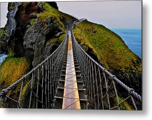 Rope Bridge Metal Print featuring the photograph Carrick-a-Rede Rope Bridge by Justin Albrecht