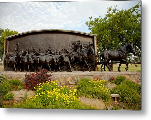 Landscape Metal Print featuring the photograph Chisholm Trail Monument by Toni Hopper