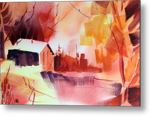 Abstract Landscape Metal Print featuring the painting Dagmar's Farm No. 1 by Josh Chilton