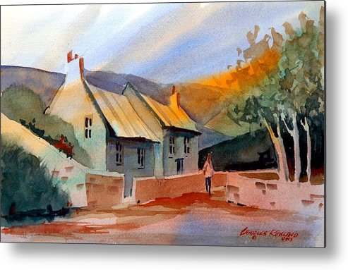 English Metal Print featuring the painting English Cottage by Charles Rowland
