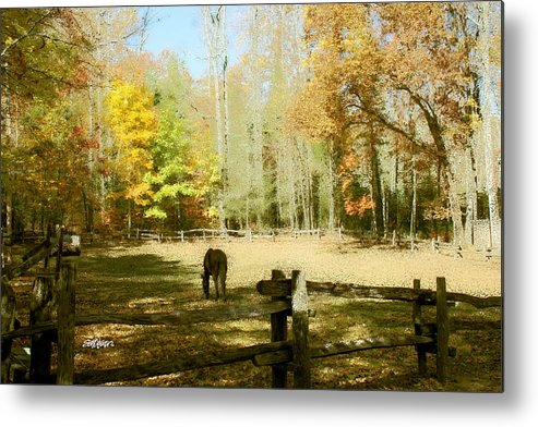 Fall Corral Metal Print featuring the photograph Fall Corral by Seth Weaver
