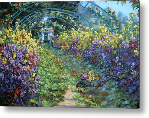Claude Monets Garden In Fall Metal Print featuring the painting Monet's Autumn by L Diane Johnson