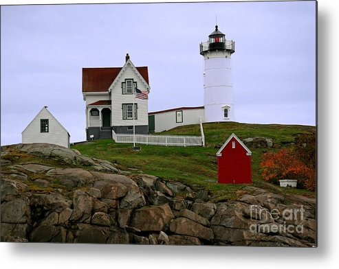 Nubble Light Metal Print featuring the photograph Nubble Lighthouse by Brenda Giasson