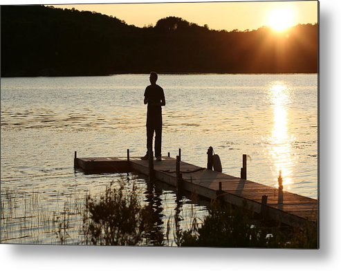 Water Metal Print featuring the photograph Person contemplating by Dr Carolyn Reinhart