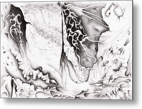 Weird Metal Print featuring the drawing P.O. Series 2.4 by Nathaniel Hoffman