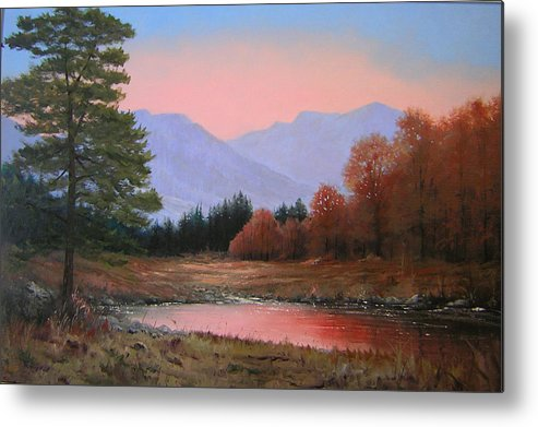 Landscape Metal Print featuring the painting 051116-3020   First Light Of Day  by Kenneth Shanika