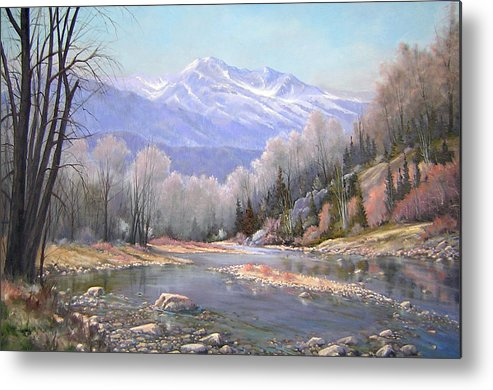 Landscape Metal Print featuring the painting 060521-3624 Spring In The Rockies by Kenneth Shanika