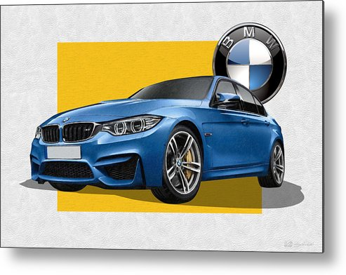 �bmw� Collection By Serge Averbukh Metal Print featuring the photograph 2016 B M W M 3 Sedan with 3 D Badge by Serge Averbukh