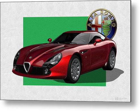 �alfa Romeo� By Serge Averbukh Metal Print featuring the photograph Alfa Romeo Zagato T Z 3 Stradale with 3 D Badge by Serge Averbukh