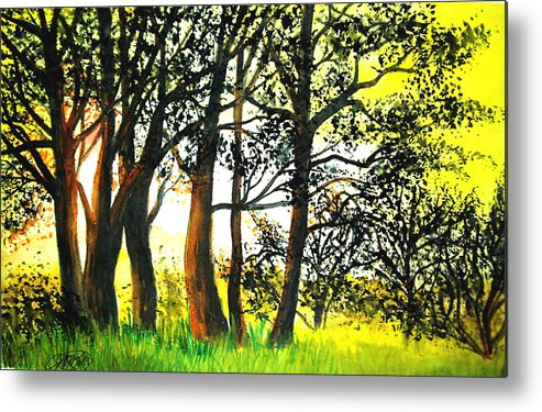 Landscape Metal Print featuring the painting Arbutus by Vi Mosley