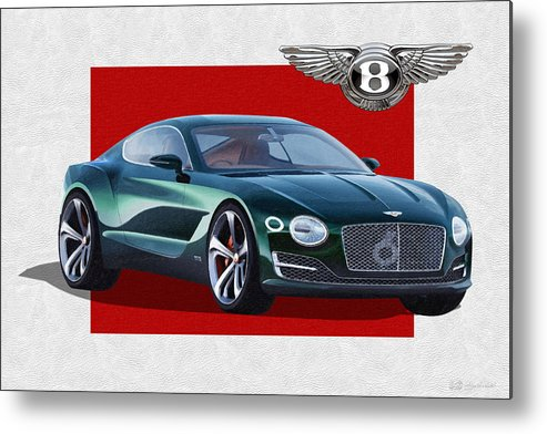 �bentley� Collection By Serge Averbukh Metal Print featuring the photograph Bentley E X P 10 Speed 6 with 3 D Badge by Serge Averbukh