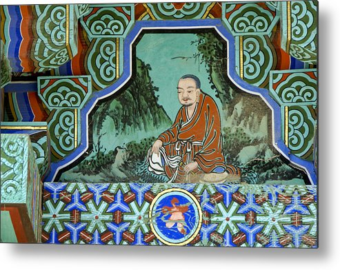 Buddha Metal Print featuring the photograph Buddhist Temple Art by Michele Burgess
