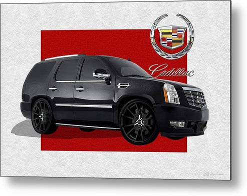 �cadillac� By Serge Averbukh Metal Print featuring the photograph Cadillac Escalade with 3 D Badge by Serge Averbukh