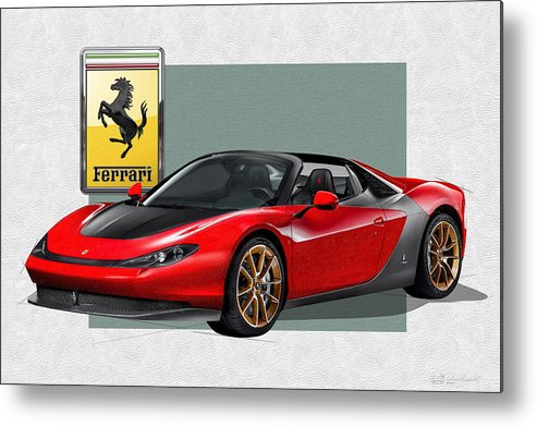 �ferrari� Collection By Serge Averbukh Metal Print featuring the photograph Ferrari Sergio with 3D Badge by Serge Averbukh