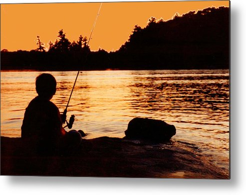 Abstract Metal Print featuring the photograph Fishing From a Rock by Lyle Crump