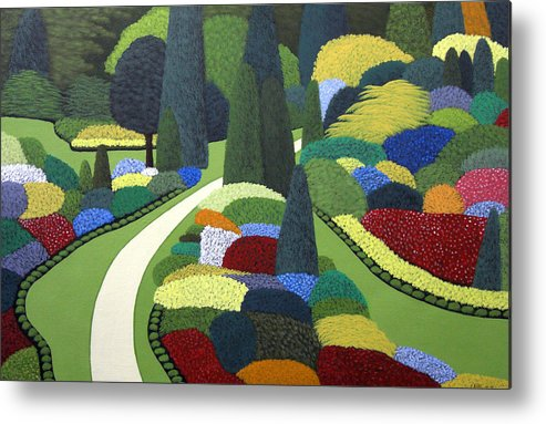 Floral Landscape Painting Metal Print featuring the painting Formal Garden on Canvas by Frederic Kohli