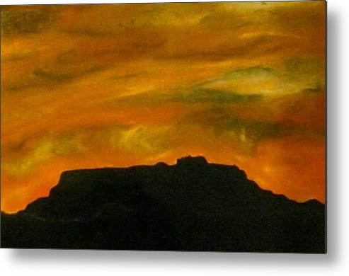 Landscape Metal Print featuring the painting Sleepy Woman by Guillermo Mason