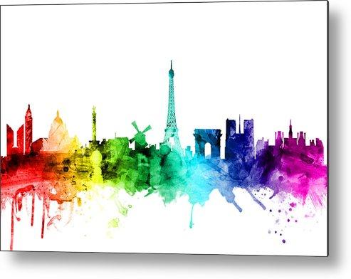 Paris Metal Print featuring the digital art Paris France Skyline by Michael Tompsett