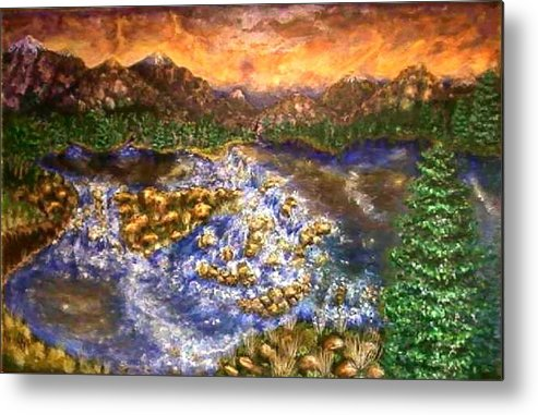 Lake Metal Print featuring the painting Lake Succession by Tanna Lee M Wells