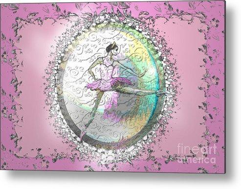 Ballet Metal Print featuring the digital art A La Second Pink Variation by Cynthia Sorensen