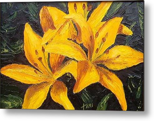 Metal Print featuring the painting A touch of Gold by Tami Booher