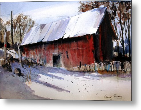 Barn Metal Print featuring the painting Alum Creek Barn by Charles Rowland