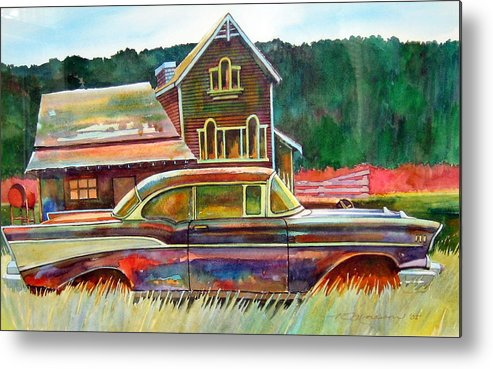 57 Chev Metal Print featuring the painting American Heritage by Ron Morrison