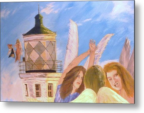 Look April Metal Print featuring the painting Aprils flying by J Bauer
