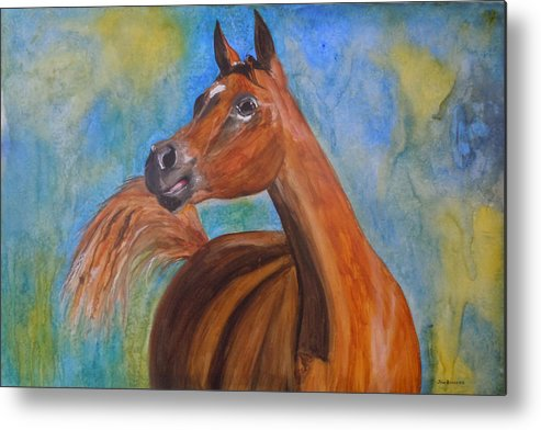 Horse Metal Print featuring the painting Arabian Beauty by Jean Blackmer