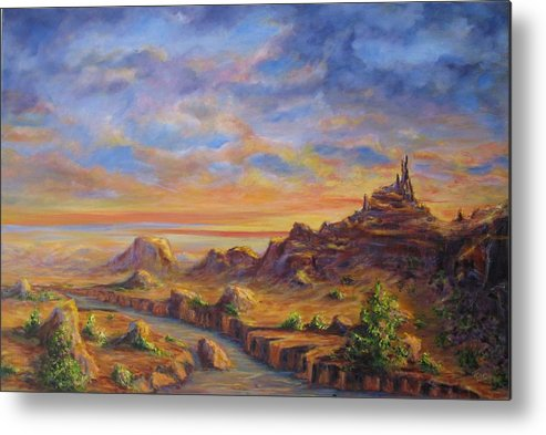Desert Landscape Metal Print featuring the painting Arroyo Sunset by Thomas Restifo