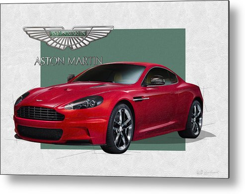 �aston Martin� By Serge Averbukh Metal Print featuring the photograph Aston Martin D B S V 12 with 3 D Badge by Serge Averbukh