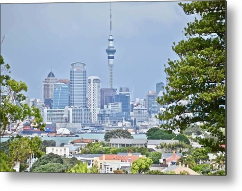 Auckland Metal Print featuring the mixed media Auckland City C B D by Clive Littin