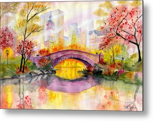 Autumn At Gapstow Bridge Central Park Metal Print featuring the painting Autumn at Gapstow Bridge Central Park by Melly Terpening