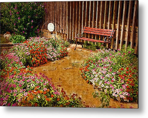 Pink Flower Metal Print featuring the digital art Backyard Garden by Paul Bartoszek