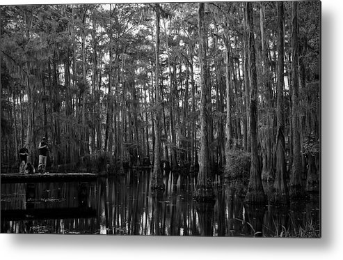 Swamps Metal Print featuring the photograph Bayou Family Fishing by Ester McGuire