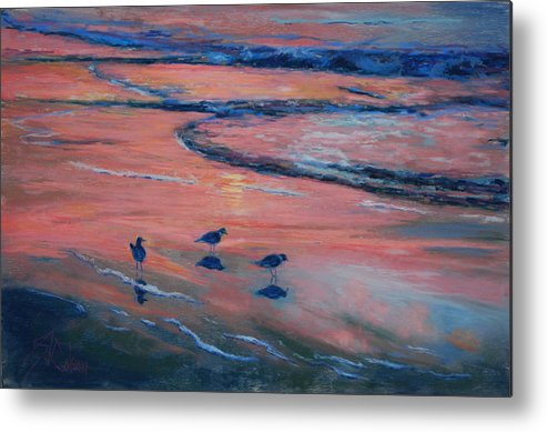 Beach Scenes Metal Print featuring the painting Beach Combers by Billie Colson